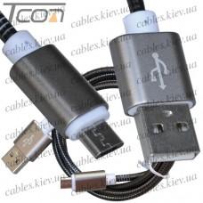 Шнур компьютерный штекер USB А - штекер miсro USB, металлическая изоляция, диам.-4,5мм, 1м, чёрный, Tcom