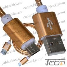 Шнур компьютерный штекер USB А - штекер miсro USB, металлическая изоляция, диам.-4,5мм, 1м, золотистый, Tcom