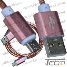 Шнур компьютерный штекер USB А - штекер miсro USB, металлическая изоляция, диам.-4,5мм, 1м, розовый, Tcom
