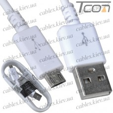 Шнур компьютерный штекер USB А - штекер miсro USB (Samsung), 1,5м, белый, Tcom