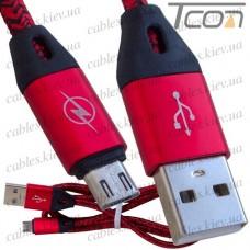 Шнур компьютерный штекер USB А - штекер micro USB, в сетке, 1м, красный, Tcom