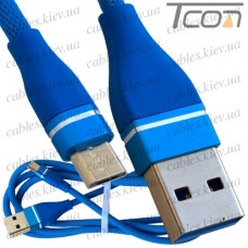 Шнур компьютерный штекер USB А - штекер micro USB, в сетке, 1м, синий, Tcom