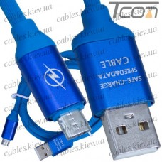 Шнур компьютерный штекер USB А - штекер micro USB, с фильтром, прорезиненный, 1м, синий, Tcom