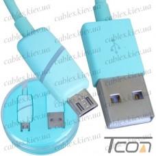 Шнур компьютерный штекер USB А - штекер micro USB, в колбе, 1м, бирюзовый, Tcom