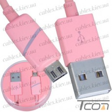 Шнур компьютерный штекер USB А - штекер micro USB, в колбе, 1м, розовый, Tcom