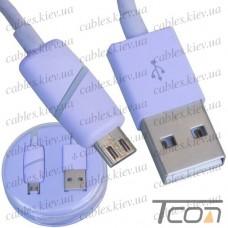 Шнур компьютерный штекер USB А - штекер micro USB, в колбе, 1м, фиолетовый, Tcom
