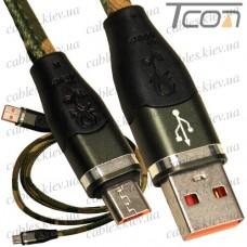 Шнур компьютерный штекер USB А - штекер miсro USB (Samsung), джинсовый, 1м, Tcom