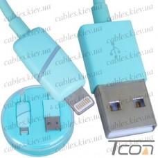 Шнур компьютерный штекер USB А - штекер iPhone 6, в колбе, 1м, бирюзовый, Tcom