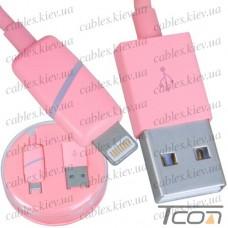 Шнур компьютерный штекер USB А - штекер iPhone 6, в колбе, 1м, розовый, Tcom