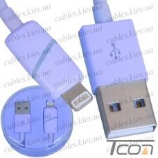 Шнур компьютерный штекер USB А - штекер iPhone 6, в колбе, 1м, фиолетовый, Tcom