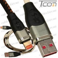 Шнур компьютерный штекер USB А - штекер iPhone 6, джинсовый, хаки, 1м, Tcom