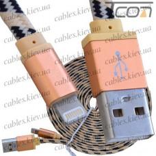 Шнур компьютерный штекер USB А - штекер iPhone 6, в сетке, 3м, золотистый, Tcom