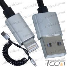 Шнур компьютерный штекер USB А - штекер iPhone 6, витой, 1м, чёрный, в блистере, Tcom
