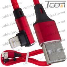 Шнур компьютерный штекер USB А - штекер iPhone 6 угловой, в сетке, 1м, красный, Tcom
