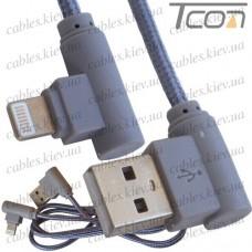 Шнур компьютерный штекер USB А угловой -штекер iPhone 6 угловой, в сетке, 1м, серый, Tcom