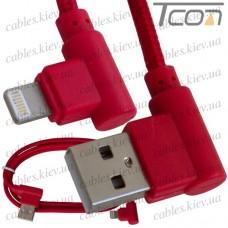 Шнур компьютерный штекер USB А угловой - штекер iPhone 6 угловой, в сетке, 1м, красный, Tcom