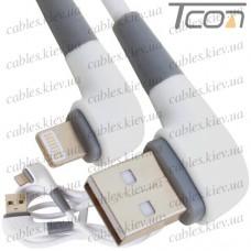Шнур компьютерный штекер USB А угловой - штекер iPhone 6 угловой, прорезиненный, 1м, белый, Tcom