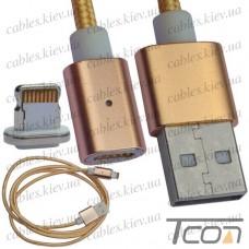 Шнур магнитный штекер USB А - штекер iPhone, съёмный на магните, 1м, Tcom