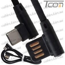Шнур штекер USB тип A угловой - штекер USB type C угловой, в сетке, 1м, чёрный, Tcom