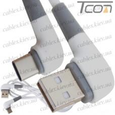 Шнур штекер USB тип A угловой - штекер USB type C угловой, прорезиненный, 1м, белый, Tcom