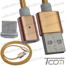 Шнур магнитный штекер USB А - штекер USB type C, съёмный на магните, 1м, Tcom