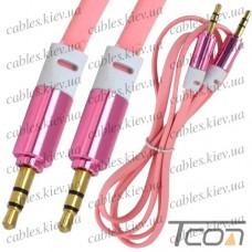 Шнур AUX штекер 3,5стерео - штекер 3,5стерео, плоский, gold, 1м, розовый, Tcom