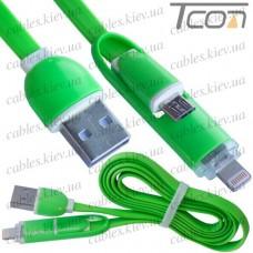Шнур 2 в 1, штекер USB А - штекер miсro USB + штекер iPhone 6, плоский, зелёный, 1м, в блистере, Tcom