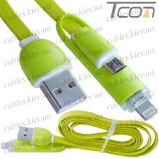 Шнур 2 в 1, штекер USB А - штекер miсro USB + штекер iPhone 6, плоский, салатовый, 1м, в блистере, Tcom
