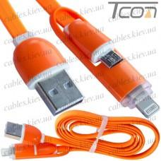 Шнур 2 в 1, штекер USB А - штекер miсro USB + штекер iPhone 6, плоский, оранжевый, 1м, в блистере, Tcom