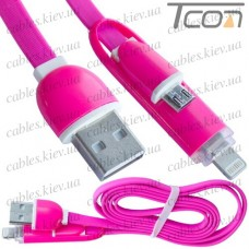 Шнур 2 в 1, штекер USB А - штекер miсro USB + штекер iPhone 6, плоский, розовый, 1м, в блистере, Tcom