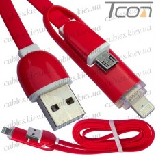 Шнур 2 в 1, штекер USB А - штекер miсro USB + штекер iPhone 6, красный, 1м, в блистере, Tcom