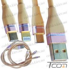 Шнур 3 в 1, штекер USB А - штекер miсro USB + штекер iPhone + штекер USB type C, сетка, 1м, золотистый, Tcom