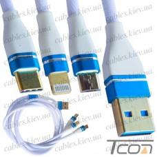 Шнур 3 в 1, штекер USB А - штекер miсro USB + штекер iPhone + штекер USB type C, gold, сетка, 1м, белый, Tcom