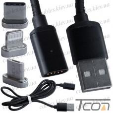 Шнур 3 в 1, штекер USB А - штекер miсro USB + штекер iPhone + штекер USB type C, сменные разъёмы на магните, чёрный, 1м, Tcom