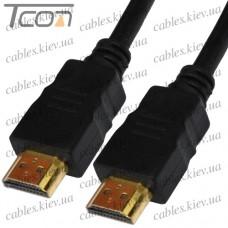 "Шнур HDMI ""Tcom"" (штекер - штекер) Vers.-1.4, диам.-6мм, ""позолоченный"", 1м, чёрный"