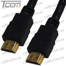 """Шнур HDMI """"Tcom"""" (штекер - штекер ) Vers.-1,4, диам.-6мм, """"позолоченный"""", с фильтрами, 3м, чёрный"""