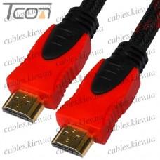 """Шнур HDMI (штекер - штекер) v.1.4, """"позолоченный"""", фильтр + сетка, 1,5м, красно-чёрный, Tcom"""