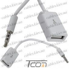 Шнур OTG (гнездо USB A - штекер 3,5мм 4С), белый, 0,2метра, Tcom