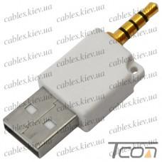 Переходник IPOD, штекер 3,5мм 4С - штекер USB, белый, Tcom