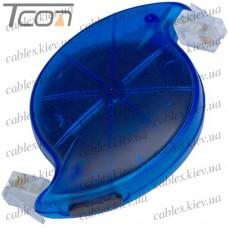 Телефонный удлинитель (рулетка) 6p4c 3 метра, синий, Tcom