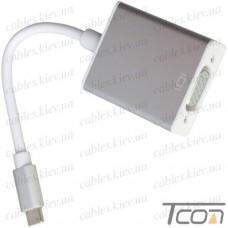 HDTV Переходник 4К (штекер USB type C - гнездо VGA), с кабелем 15см, блистер, Tcom