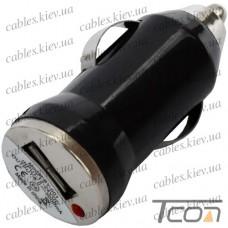 Автомобильная зарядка USB, 5V, 1A, чёрная, Tcom