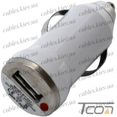 Автомобильная зарядка USB 5V, 1A, белая, Tcom