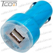 Автомобильная зарядка, 2-а гнезда USB 1A + 2.1А, голубая, Tcom