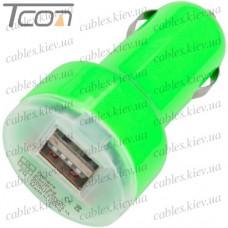 Автомобильная зарядка, 2-а гнезда USB 1A + 2.1А, зелёная, Tcom