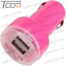Автомобильная зарядка, 2-а гнезда USB 1A + 2.1А, розовая, Tcom