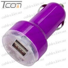 Автомобильная зарядка, 2-а гнезда USB 1A + 2.1А, фиолетовая, Tcom
