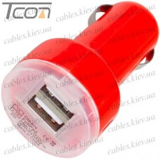 Автомобильная зарядка, 2-а гнезда USB 1A + 2.1А, красная, Tcom
