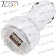 Автомобильная зарядка, 2-а гнезда USB 1A + 2.1А, белая, Tcom