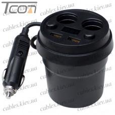 """Автомобильная зарядка """"стакан"""" 2-а гнезда прикуривателя+ 2-а гнезда USB 3.1А+дисплей, с кабелем 65см, Tcom"""
